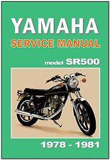 YAMAHA Workshop Manual SR500 1978 1979 1980 & 1981 SR500E SF500F SR500G SR500H