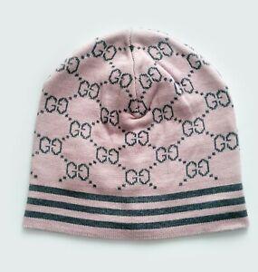 Kids Girls GUCCI hat beanie GG logo baby pink soft gray Cotton Acrylic Size 4