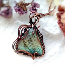 Labradorite yoni pendant Wire wrapped copper necklace Gift woman jewelry large