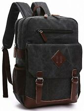 Kenox Mens Large Vintage Canvas Backpack School Laptop Bag Hiking Travel Black