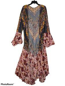 Umgee Women's Floral ruffle sleeve Gypsy boho duster kemono Blouse Size XL