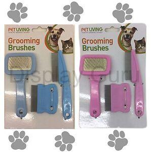 Set of 3  Fine Pet Grooming set Brush,Comb Blue Pink Dog Cat Puppy