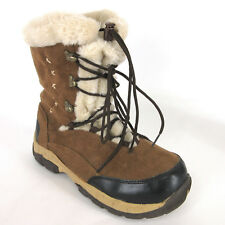 Itasca Womens Boots 9 Anastasia Caramel Brown Micro Suede Snow Lined Lace Up