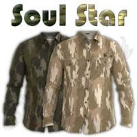 Men Soul Star Casual Shirt Long Sleeve Military Camouflage Cotton Shirts Top