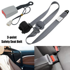 Universal 3 Point Strap Retractable & Adjustable Safety Seat Belt Black Warning