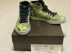 Gucci GG Canvas 'Bloom' Print Hi Top Sneakers size 8.5G/US 9.5