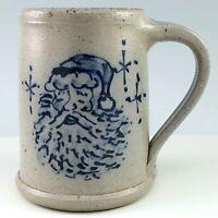 Rowe Pottery Christmas Mug Santa Claus Salt Glaze Coffee Cup Tankard WI 1994