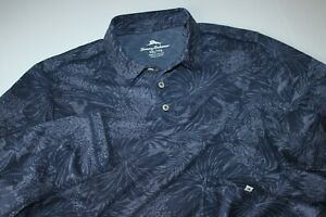 Tommy Bahama Polo Shirt Leafing In The Sun Coal Bering Blue LS New Medium M