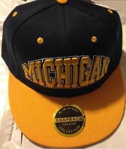 MICHIGAN SNAPBACK HAT 3D EMBROIDERED NAVY BLUE YELLOW FLATBILL HIP HOP CAP