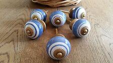 Ceramic Door Knobs - Blue & White Ring - Set of Six