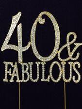 GOLD Rhinestone 40 & FABULOUS 40th Birthday Party Cake Topper Decoration 40FG