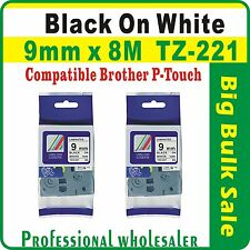 9mm x 8m Brother Black on White CompatibleTZ-221 P-Touch Laminated Label Tape