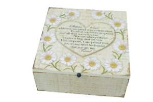 Sister Memory Box Keepsake Chest Daisies Wooden Treasured Gift 20x20cm SG1689