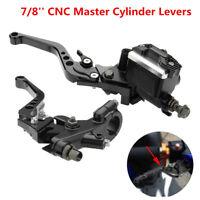 Universal Motorcycle 7/8'' CNC Brake Clutch Master Cylinder Lever Set Reservoir