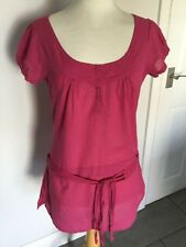 Fat Face Ladies Pink Cap Sleeve Belted Top Size 10. Good Condition.