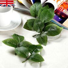 UK Artificial Silk Green Leaf Rose Leaves Bouquet Garland Decor Flowers 10pcs