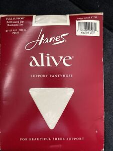Hanes Alive Pantyhose Full Support Control Top Reinforced Toe Sz D Pearl NIP