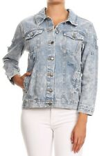 Women's Premium Denim Jackets Long Sleeve Ripped Printed Jean Coats