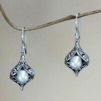 Women 925 Plated Silver Hook Drop Dangle White Earring Wedding Party Jewelry