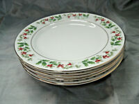 "Gibson Everyday CHRISTMAS CHARM Set of 4-7 5/8"" Salad Plates Holly & Berries EUC"
