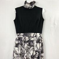 Vintage Maxi Dress Medium Sleeveless Cowl Turtleneck Black White Floral Fitted