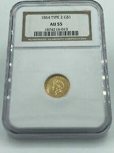 1854 Type 2 NGC AU55 Gold Dollar