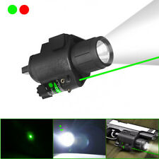 Tactical LED Flashlight Green/ Red Laser Sight For Rifle Pistol Glock 17 19 Rail