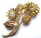 broche ancien bijou vintage fleur plaqué or cristaux solitaire diamant 1871