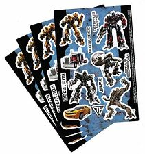 4 Sheets TRANSFORMERS Stickers! Optimus Prime Bumblebee Megatron JAZZ