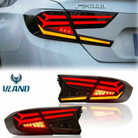 Vland Pair Rear Lamp LED Smoked Tinted Tail Lights For 2018-2019 Honda Accord