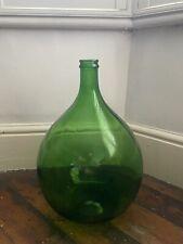 More details for vintage demijohn carboy dame jeanne demijohn bottle/case bottle green large vgc