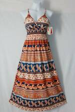 NEW Womens Maxi Dress Large Gold Orange Blue Spaghetti Strap Smocked Empire Long
