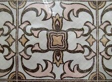 """Pottery Barn Lyon Tile Pillow Cover NWT 18"""" Square Pink Cream Tan Brown"""