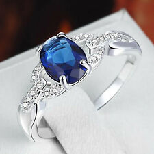 Elegant Women 925 Sterling Silver Sapphire Crystal Ring Wedding Engagement Gifts