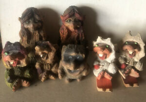 Lot Of 7 Vintage Hand Carved Wooden Norway Henning Troll Carvings
