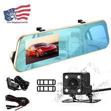 FHD 1080P Night Vision Dual Lens Video Dash Cam Camera Rearview Mirror Car DVR