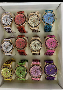 NEW Lot of 12 pc Women's Leopard print Mix Color Watch Wholesale