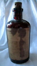 Antique AMBER PHARMACY CORK Bottle RHUBARB AROMATIC SYRUP JOHN MILL MFG FULL RD