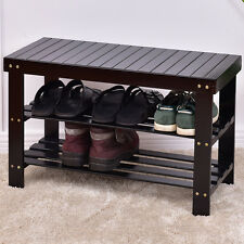 3 Tier Bamboo Shoe Rack Bench Storage Shelf Organizer Entryway Home Furni Black