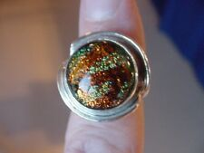 (#DR7-13) Size 7 DICHROIC GLASS Sterl SILVER RING ORANGE GREEN
