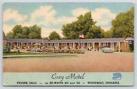 Winamac Indiana~Cozy Motel~Roadside Hi-Ways 29 & 35~Paul Fritz~Car~1955 Linen PC