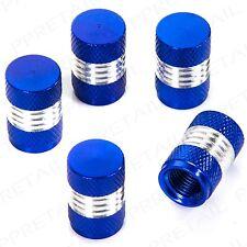 5x STYLISH HEAVY ALUMINUM BLUE/SILVER VALVE DUST CAPS Car BMX Metal Tyre Tire