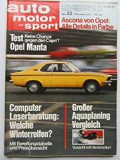 Auto Motor Sport 23/1970, Opel Ascona, Test: Opel Manta