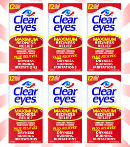 6 Clear Eyes Maximum Redness Red Relief Eye Drops 0.5 OZ EXP 10/21+