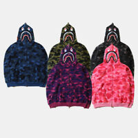 Bathing ape Bape Shark Jaw Camo Full Zipper Hoodie Men's Sweats Coat Jacket