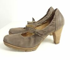 PAUL GREEN Plateau Pumps Riemchen Velour Braun Gr. 39