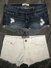 Hollister Hot Kiss Cici Shorts Lots Size 3 & 5 White Jean Blue Denim Boho Lot