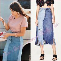 Zara Denim Ribbed Frayed Two Tone Slits Midi Skirt Size XS S 6 8 US 2 4 Blogger❤