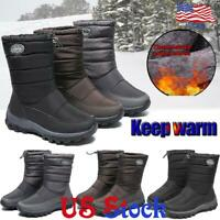 Women Waterproof Mid Calf Drawstring Snow Boots Winter Casual Slip-On Flat Shoes