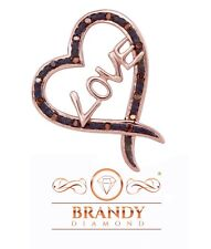 Brandy Diamond® Chocolate Brown 10K Gold Wrapped With Love Heart Pendant .08Ct